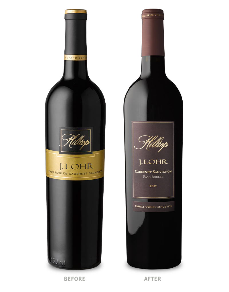 J. Lohr Vineyard Series Before Wine Packaging Redesign on Left & After on Right