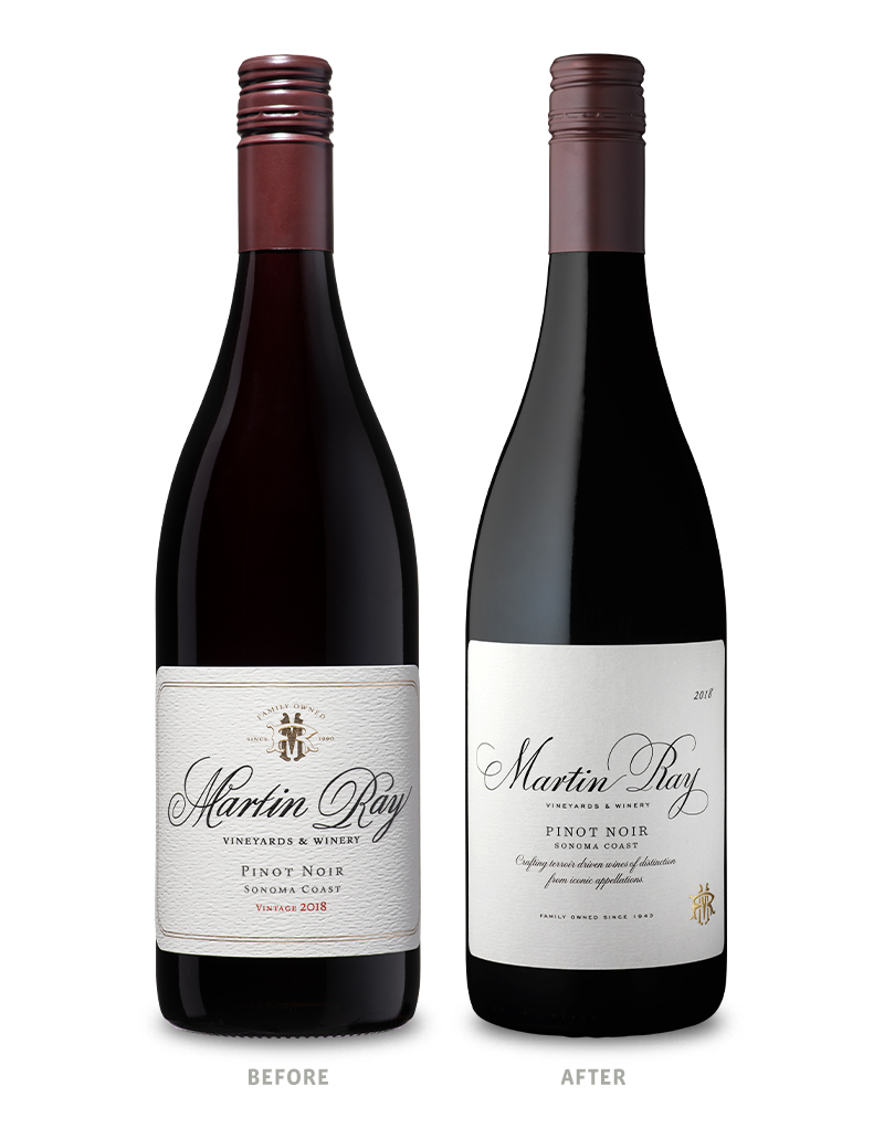 Martin Ray Vineyards & Winery Before Wine Packaging Redesign on Left & After on Right