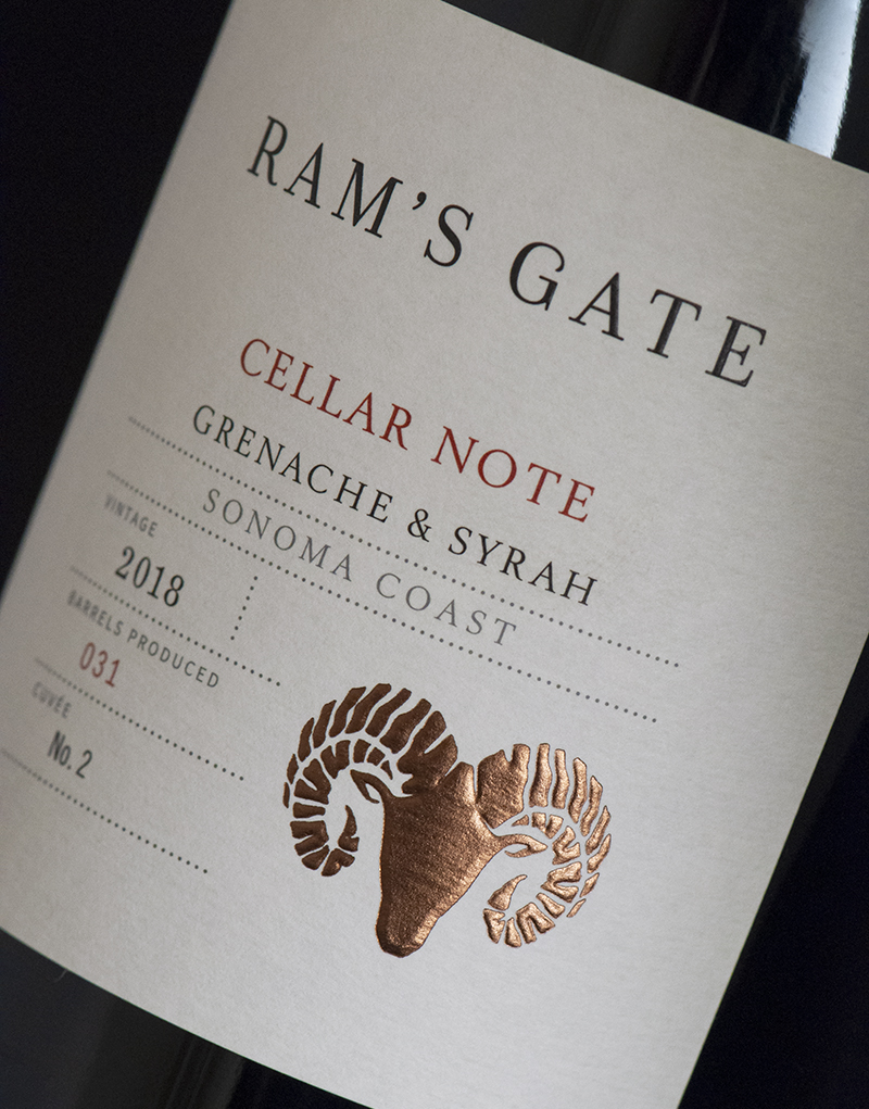 Ram's Gate Cellar Note Tier Packaging Design & Logo Label Detail