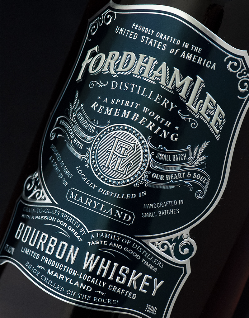 Fordham Lee Distillery Bourbon Whiskey Packaging Design & Logo Label Detail