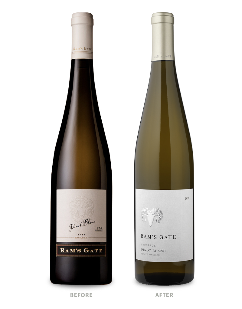 Ram's Gate Tier 1 Core Tier Pinot Blanc Wine Packaging Before Redesign on Left & After on Right