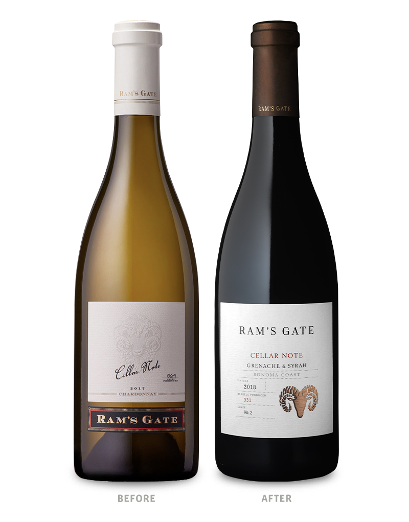 Ram's Gate Tier 2 Cellar Note Grenache & Syrah Wine Packaging Before Redesign on Left & After on Right