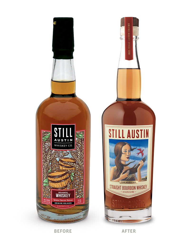 Still Austin The Musician Whiskey Packaging Before Redesign on Left & After on Right