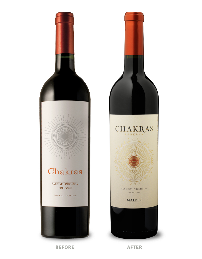 Chakras Wine Packaging Before Redesign on Left & After on Right