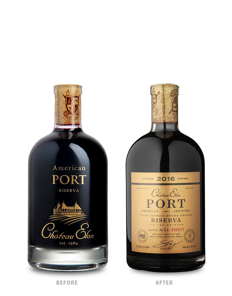 Chateau Elan Port Packaging Before Redesign on Left & After on Right
