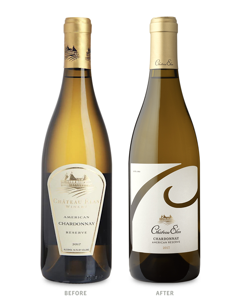 Chateau Elan White Wine Packaging Before Redesign on Left & After on Right