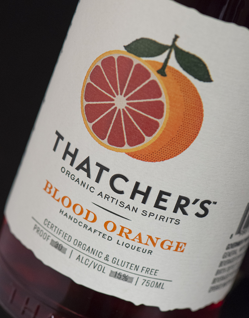 Thatcher's Organic Blood Orange Liqueur Logo & Packaging Design Label Detail