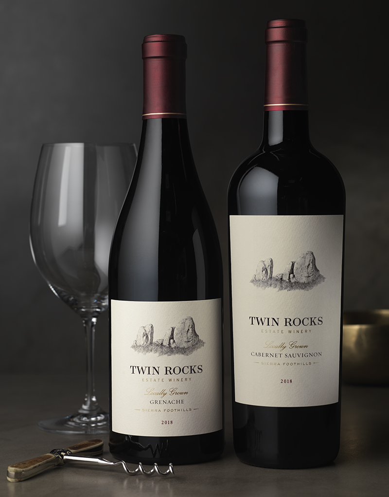 Twin Rocks Estate Winery Red Wine Packaging Design & Logo