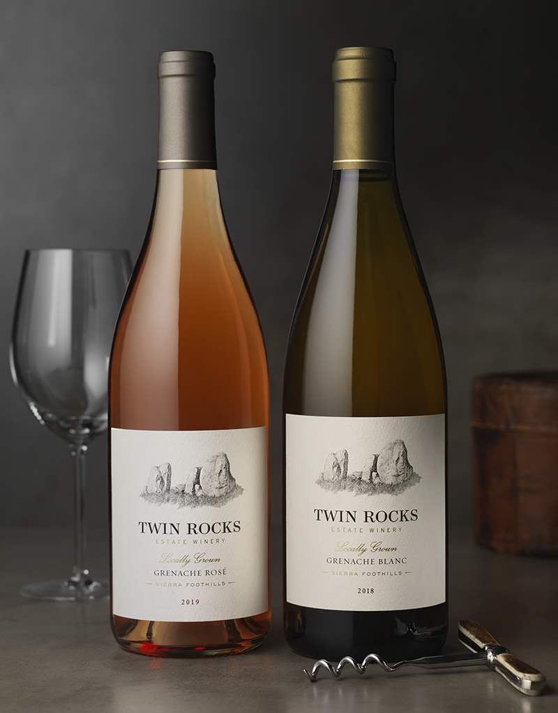 Twin Rocks Estate Winery Rose & Grenache Blanc Wine Packaging Design & Logo