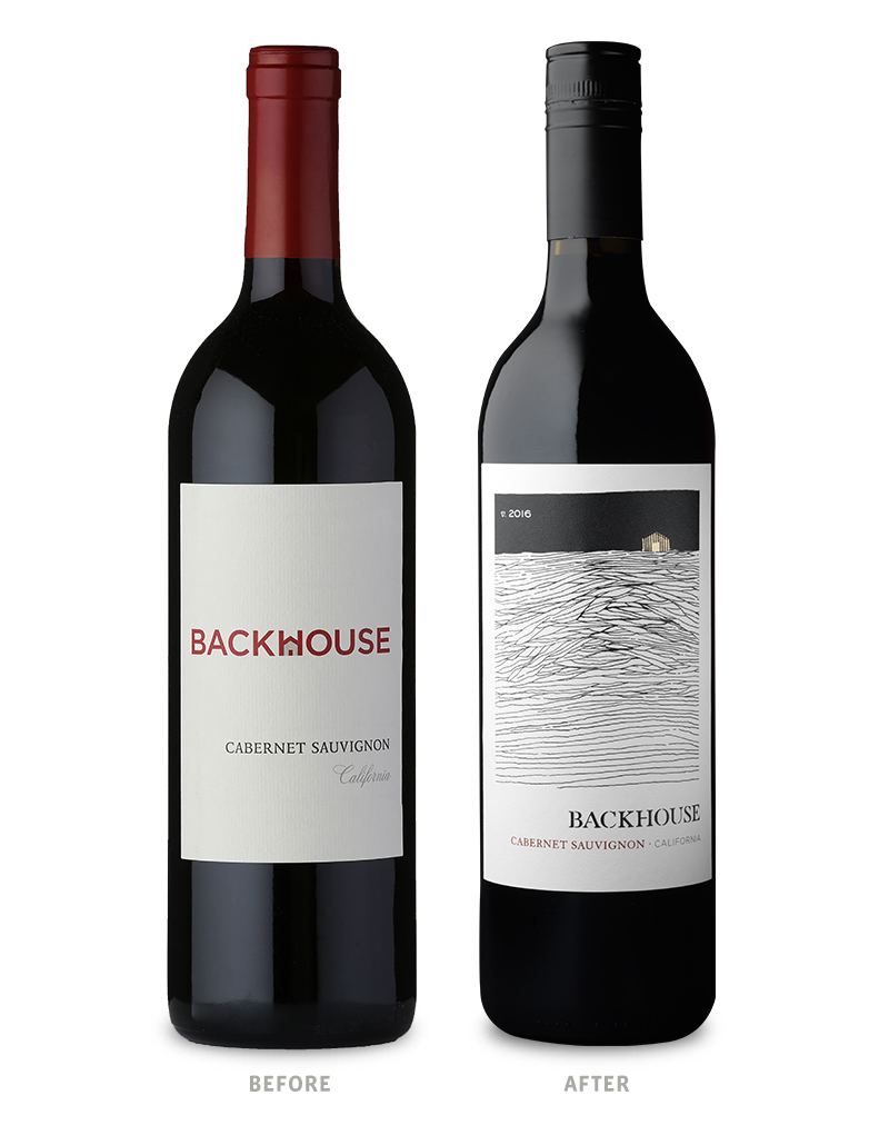 Backhouse Wine Packaging Before Redesign on Left & After on Right