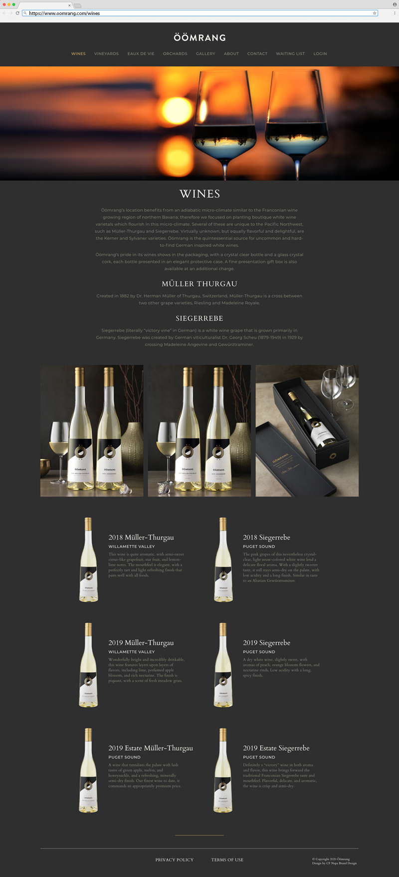 Öömrang Wines page Website Design