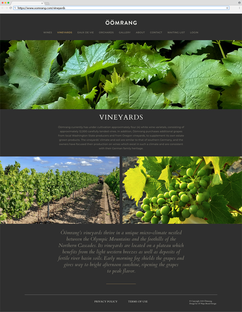 Öömrang Vineyards Page Website Design