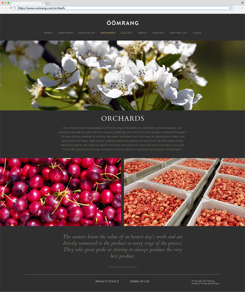 Öömrang Orchards Page Website Design