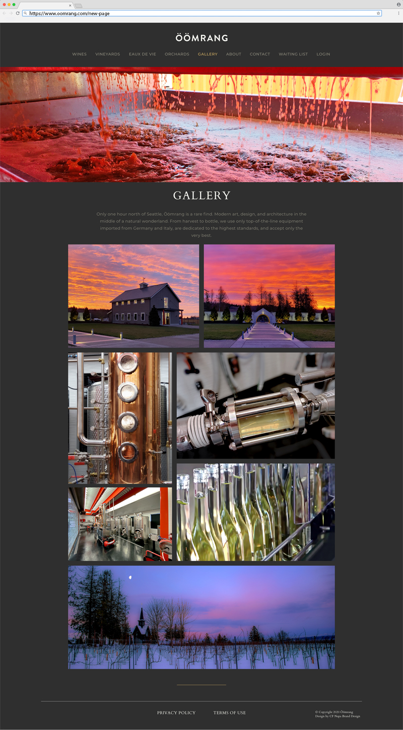 Öömrang Gallery Page Website Design