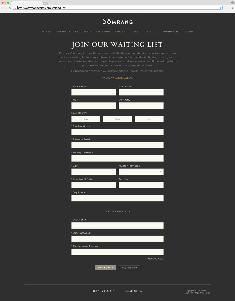 Ööomrang Waiting List Page Website Design