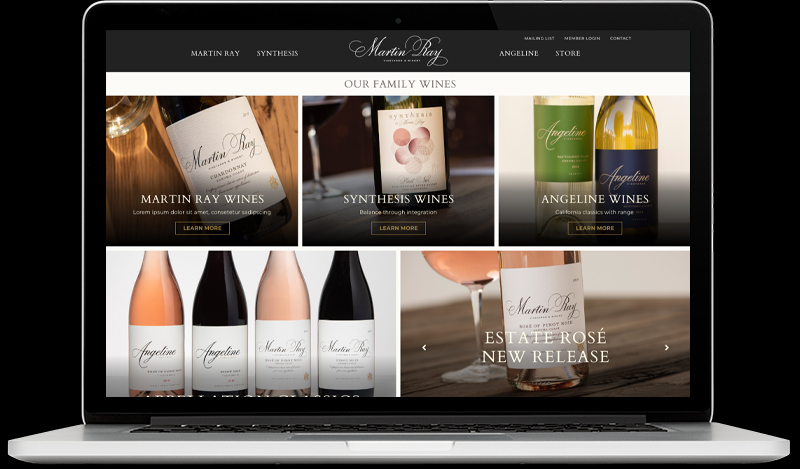Martin Ray Vineyards & Winery Master Home Page Website Design