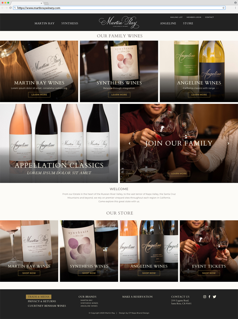 Martin Ray Vineyards & Winery Landing Page Website Design