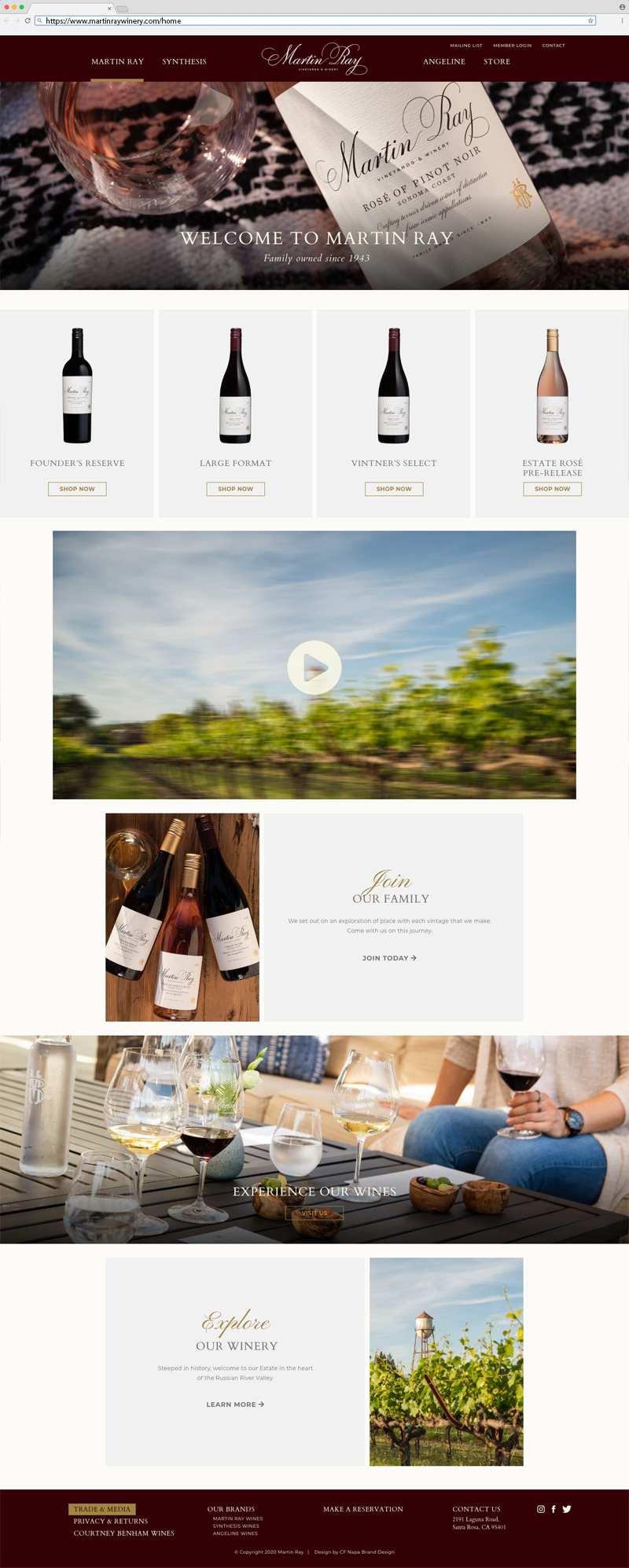 Martin Ray Vineyard & Winery Home Page Website Design