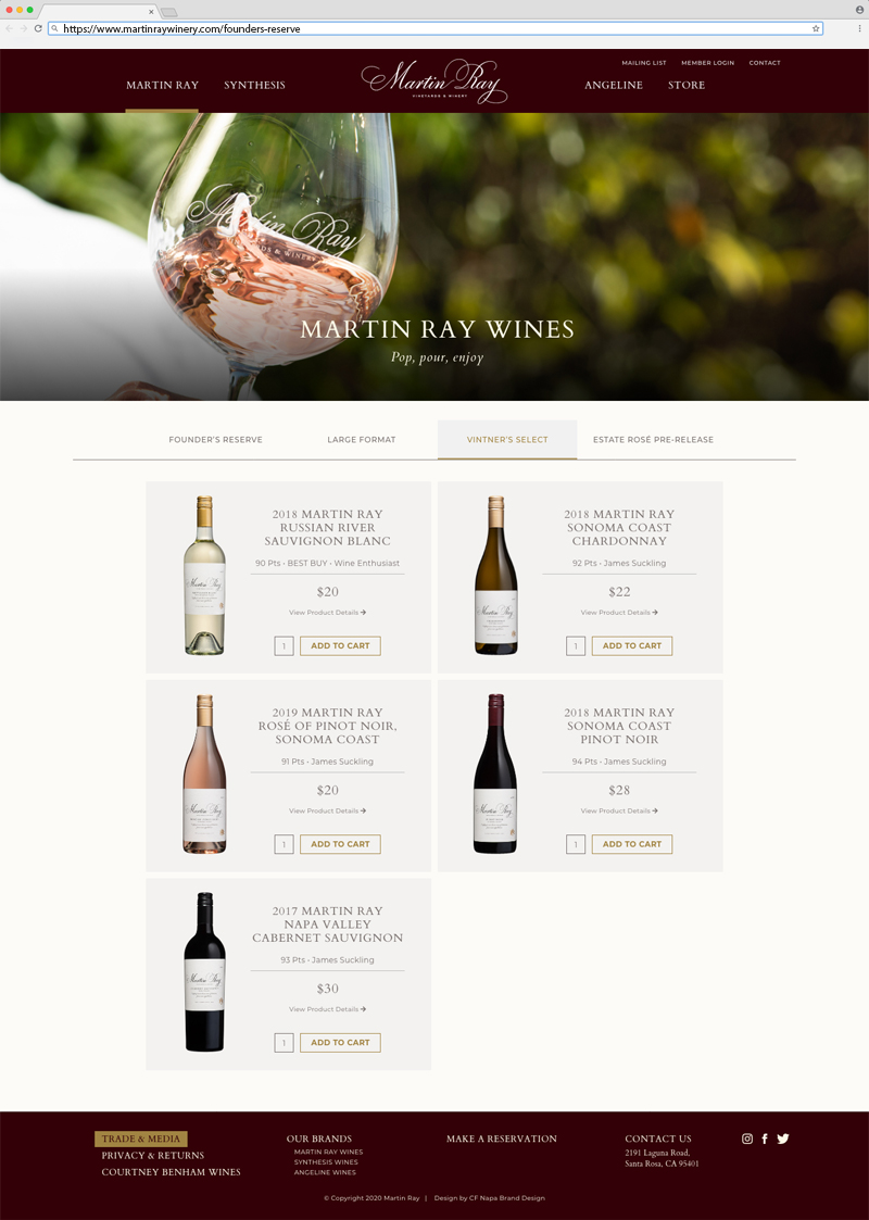 Martin Ray Vineyards & Winery Wines Page Website Design