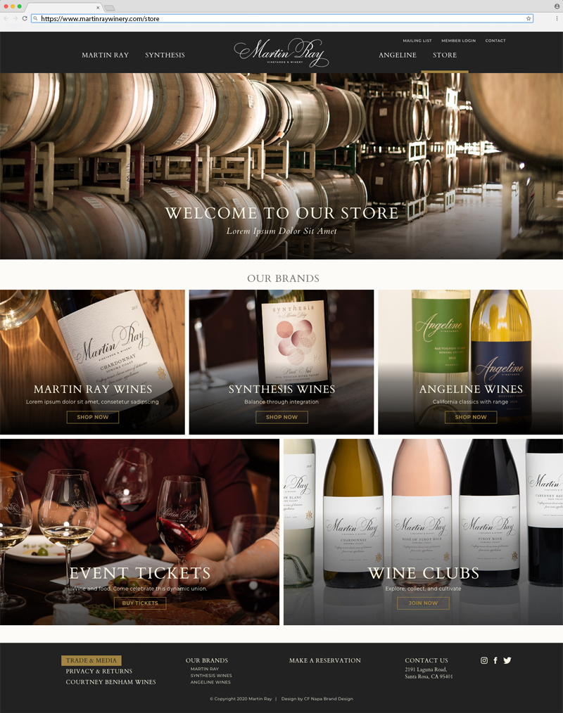 Martin Ray Vineyards & Winery Store Page Website Design