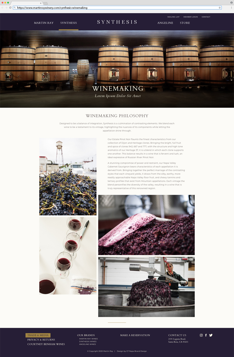 Martin Ray Vineyards & Winery Synthesis Winemaking Page Website Design