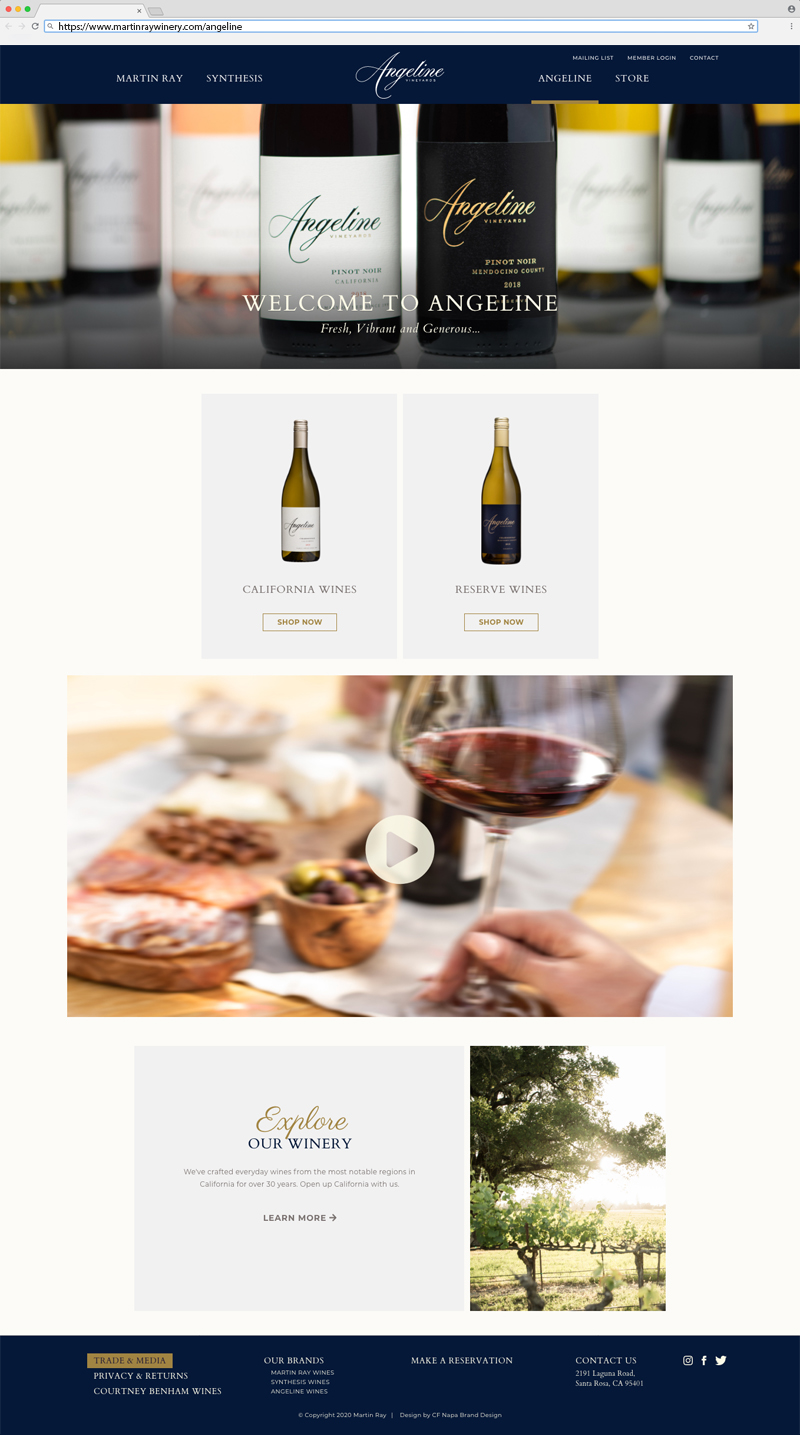 Martin Ray Vineyards & Winery Angeline Home Page Website Design