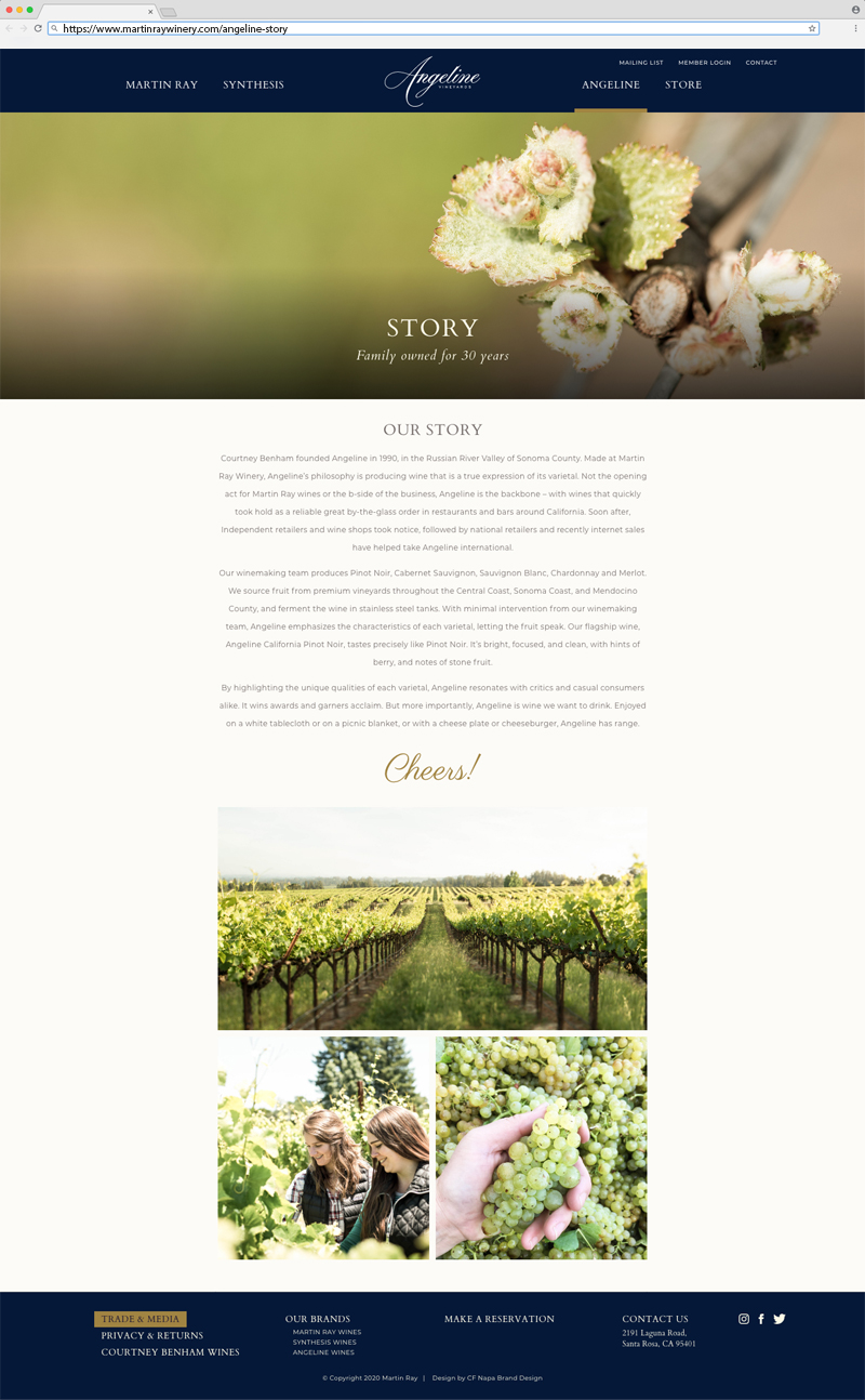 Martin Ray Vineyards & Winery Angeline Vineyards Story Page Website Design