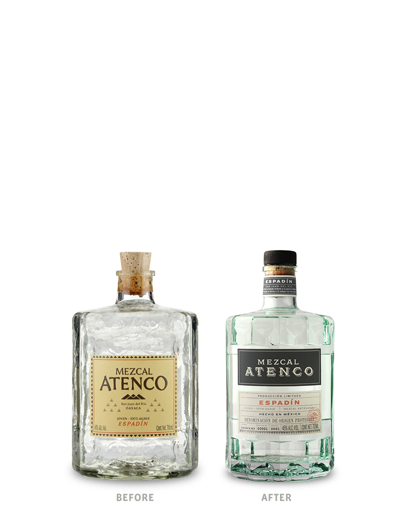 Mezcal Atenco Before Packaging Design on Left & After on Right