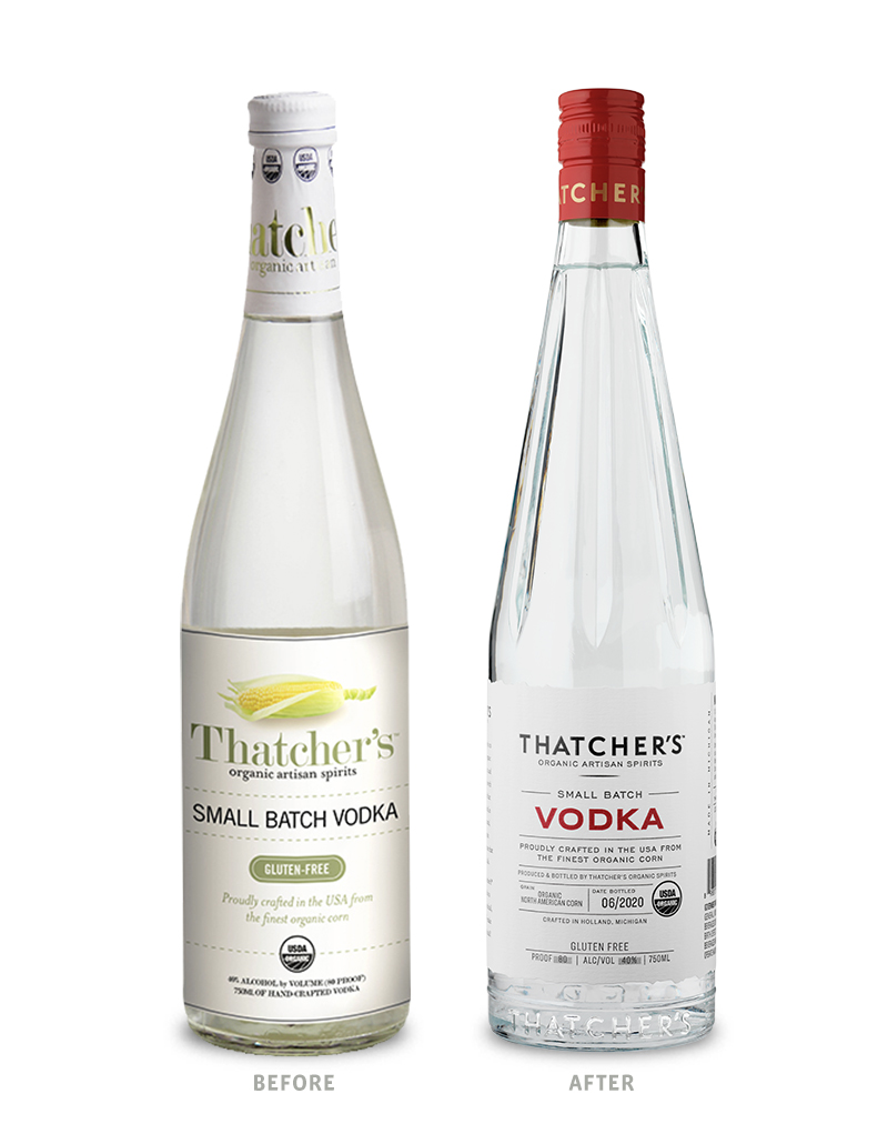 Thatcher's Organic Vodka Before Packaging Redesign on Left & After on Right