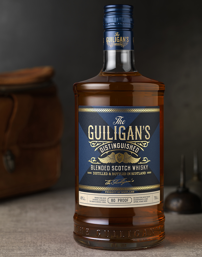 The Guiligan's Distinguished Scotch Packaging Design & Logo