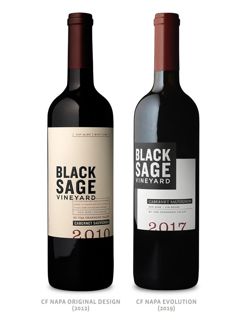 Black Sage Vineyard Wine Packaging Before Redesign on Left & After on Right