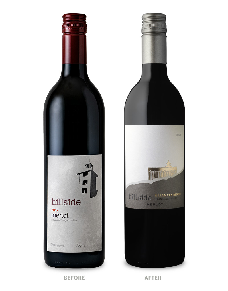 Hillside Base Tier Merlot Wine Packaging Before Redesign on Left & After on Right