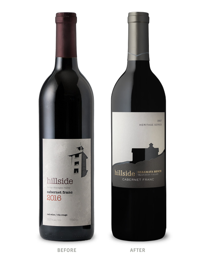 Hillside Heritage Series Cabernet Franc Wine Packaging Before Redesign on Left & After on Right