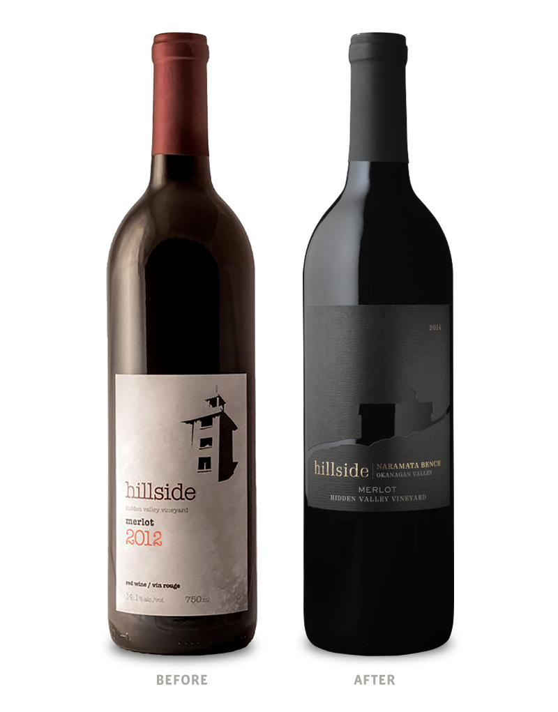 Hillside Hidden Valley Merlot Wine Packaging Before Redesign on Left & After on Right