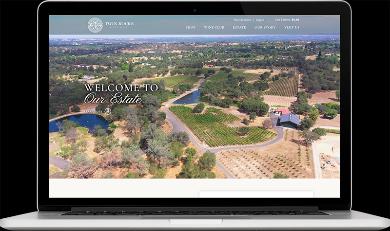 Twin Rocks Estate Winery Landing Page Website Design