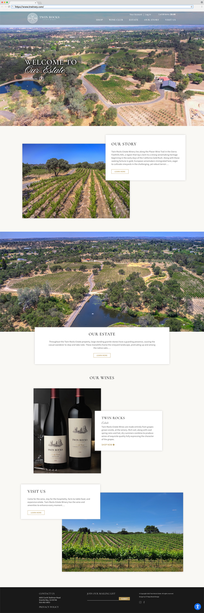 Twin Rocks Estate Winery Home Page Website Design