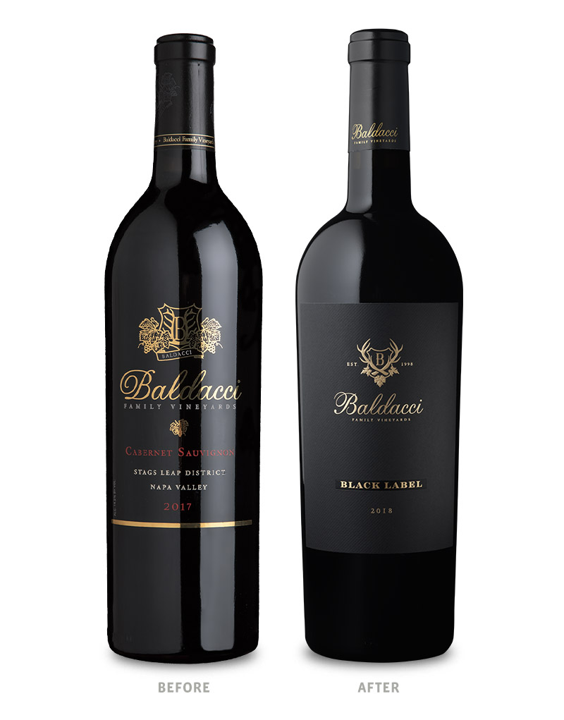 Baldacci Family Vineyards Black Label Wine Packaging Before Redesign on Left & After on Right