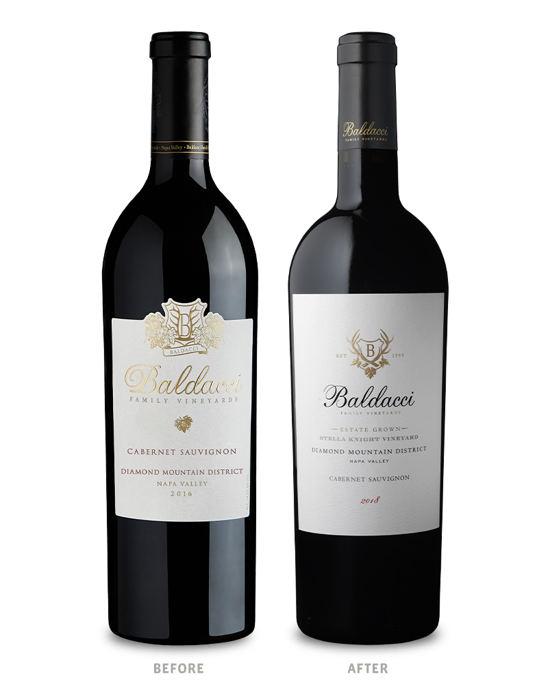 Baldacci Family Vineyards Diamond Mountain District Cabernet Sauvignon Wine Packaging Before Redesign on Left & After on Right