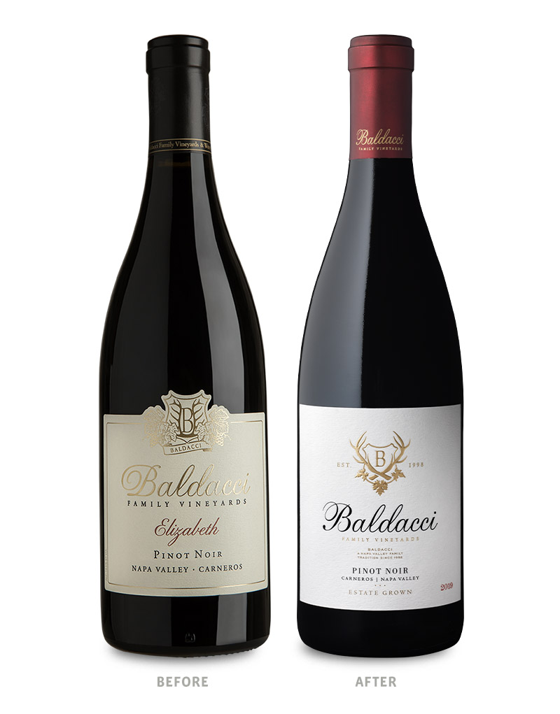 Baldacci Family Vineyards Estate Grown Pinot Noir Wine Packaging Before Redesign on Left & After on Right