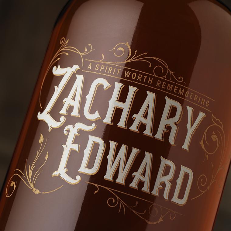 Zachary Edward Whiskey Packaging Bottle Detail