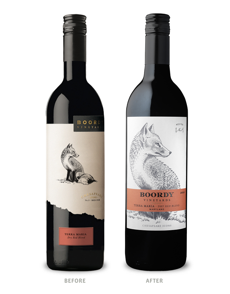 Boordy Vineyards Chesapeake Icons Terra Maria Wine Packaging Before Redesign on Left and After on Right