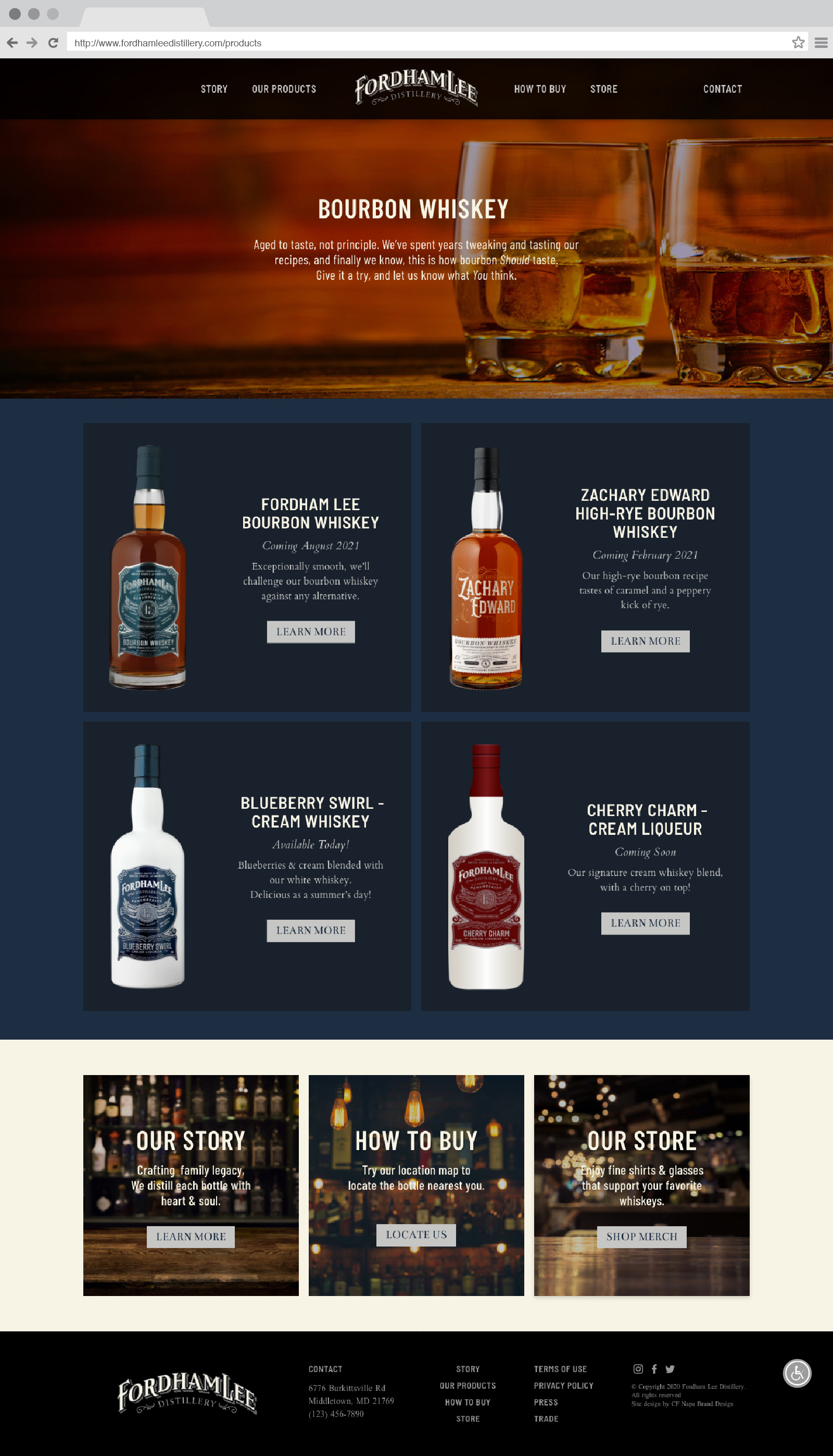 Fordham Lee Distillery Products Page Website Design