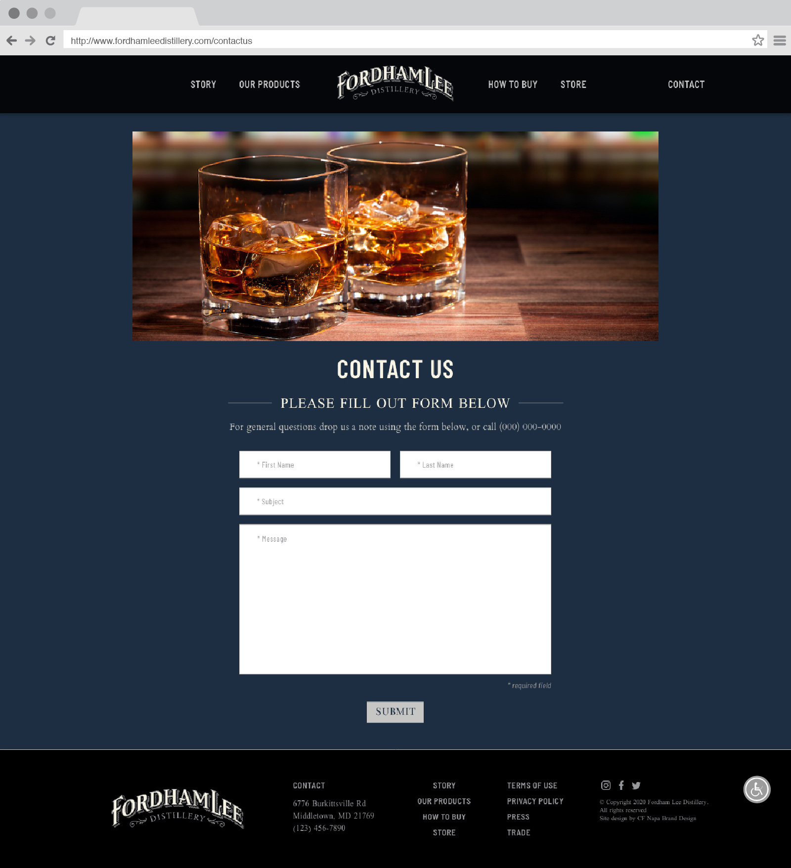 Fordham Lee Distillery Contact Us Page Website Design