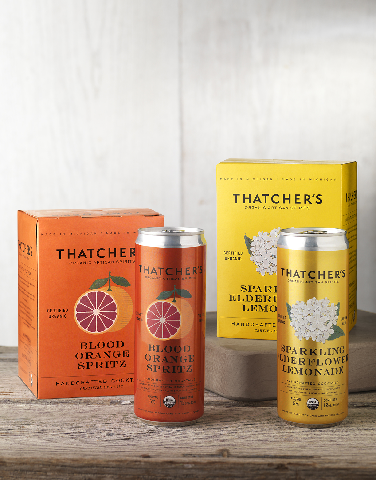 Thatcher's Organic Canned Cocktails Packaging Design & Logo