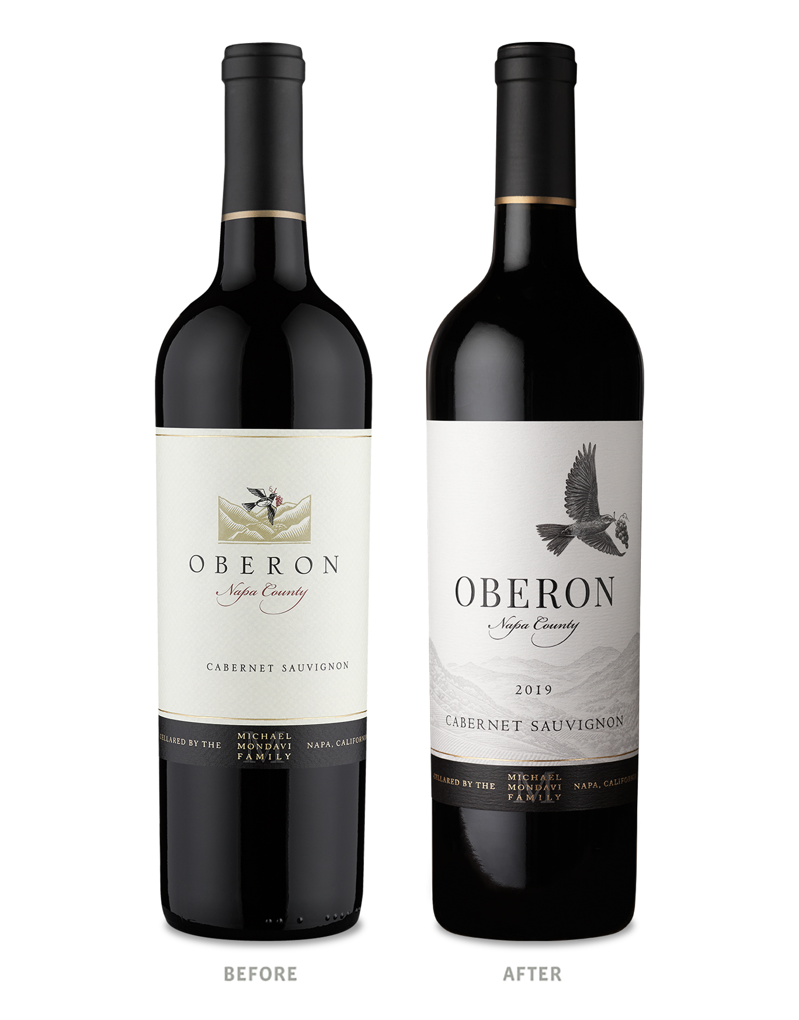 Oberon Wine Packaging Before Redesign on Left & After on Right